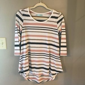Striped tunic length long sleeve top